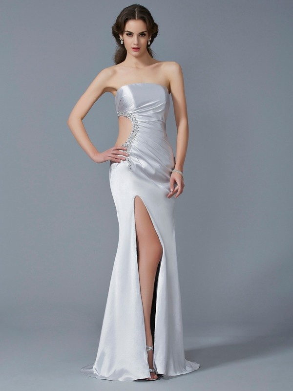 Trumpet/Mermaid Strapless Sweep/Brush Train Sleeveless Beading Elastic Woven Satin Dresses