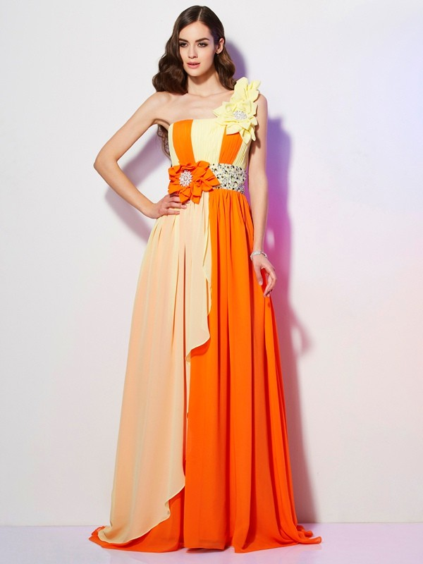A-Line/Princess One-Shoulder Sleeveless Brush Train Chiffon Beading Dresses