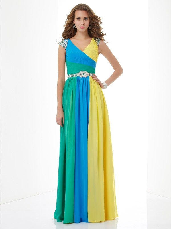 V-neck Short Sleeves Beading Chiffon Floor-Length Dresses