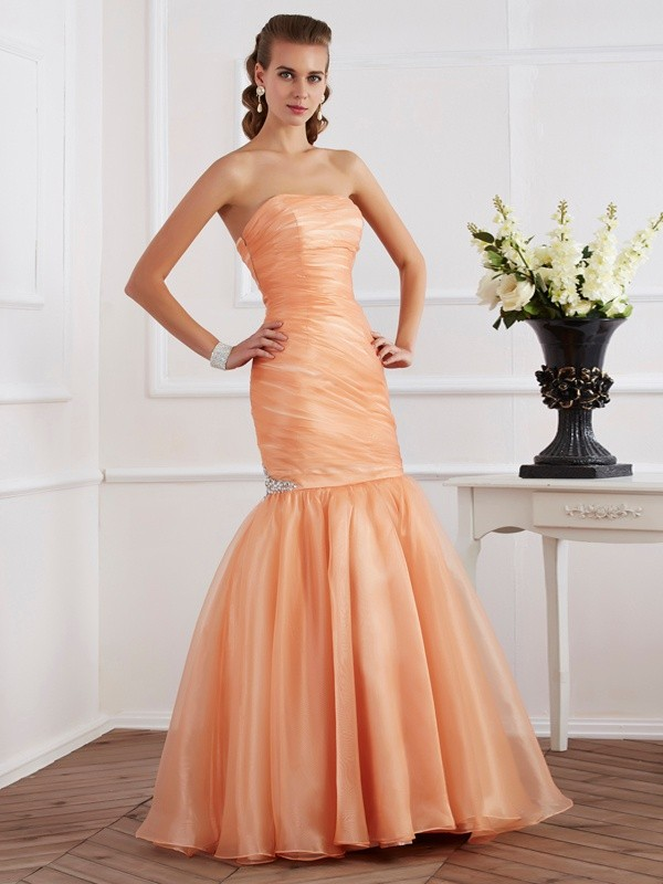 Trumpet Sleeveless Strapless Beading Tulle Floor-Length Dresses