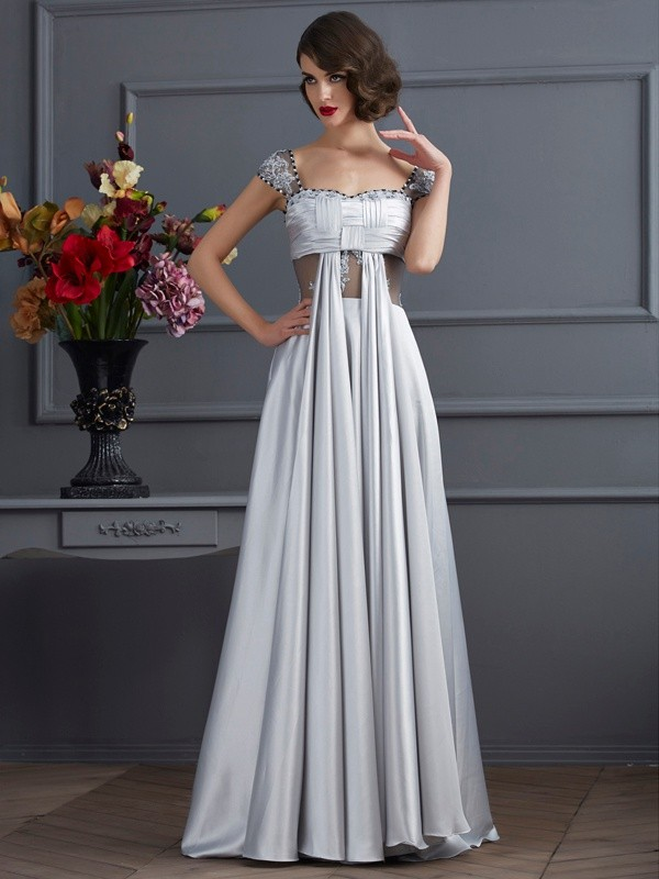 A-Line/Princess Off-the-Shoulder Pleats Sleeveless Elastic Woven Satin Dress
