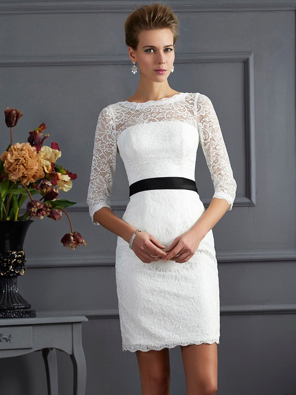 Sheath/Column Scoop 3/4 Sleeves Short/Mini Lace Dresses