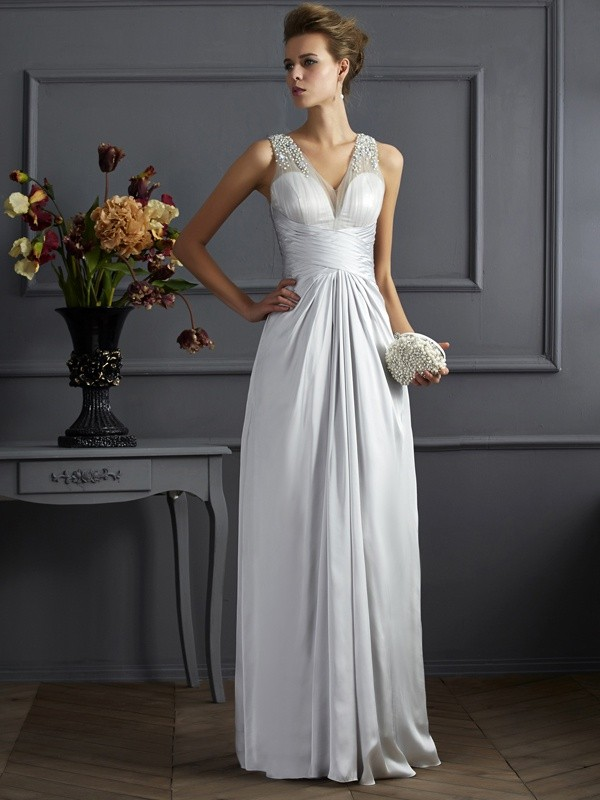 A-Line/Princess Straps Beading Silk like Satin Floor-Length Dresses