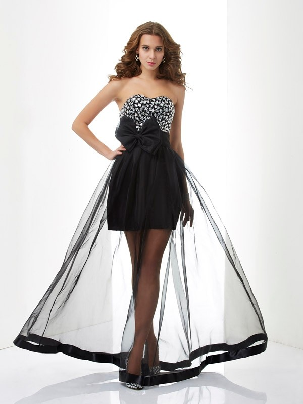 A-Line/Princess Sweetheart Beading Sleeveless Organza Floor-Length Dress