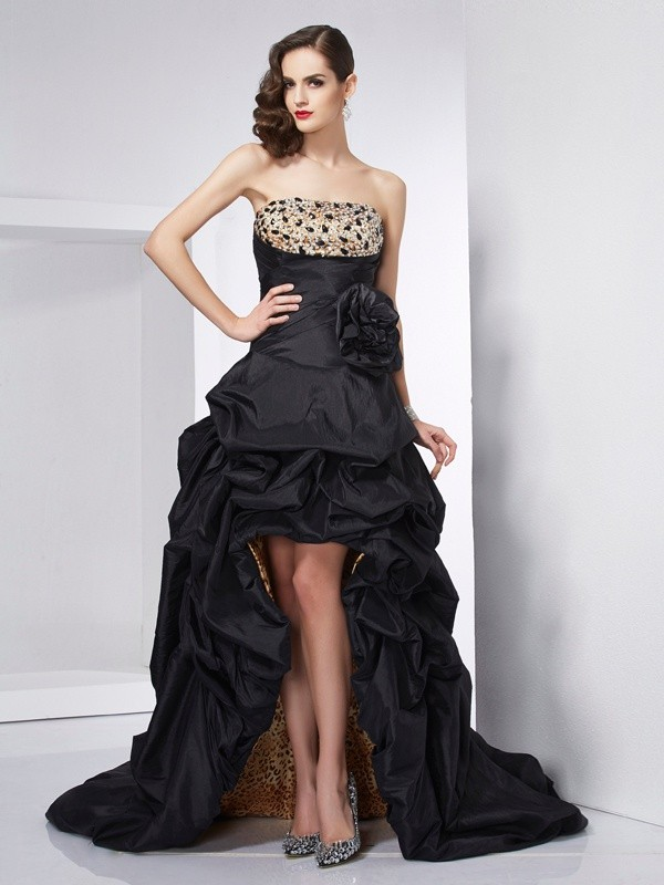A-Line/Princess Strapless Sleeveless Beading Taffeta Asymmetrical Dress