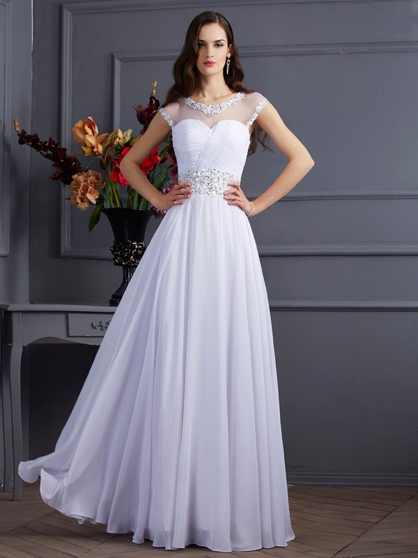 A-Line/Princess Chiffon Bateau Short Sleeves Floor-Length Beading Dresses