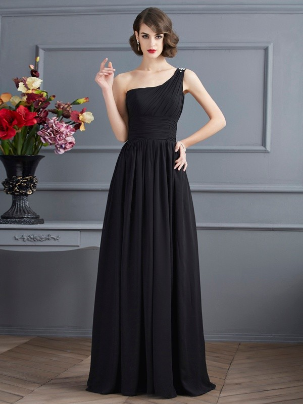 A-Line/Princess One-Shoulder Sleeveless Floor-Length Chiffon Dress