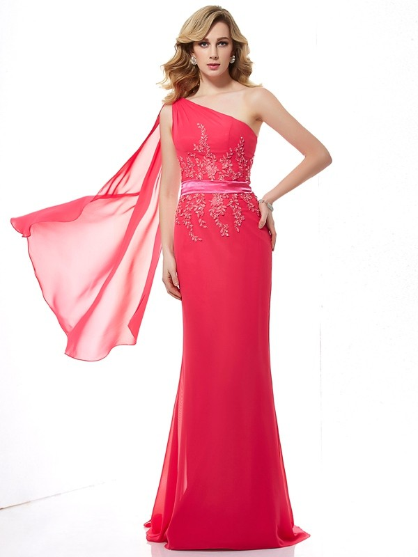 Sheath/Column Applique One-Shoulder Beading Chiffon Sweep/Brush Train Dresses
