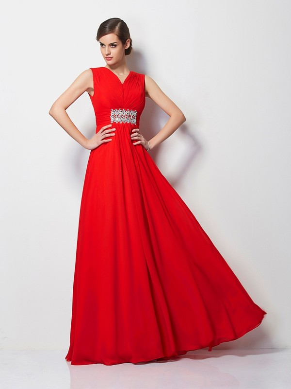Sheath/Column V-neck Short Sleeves Beading Chiffon Floor-Length Dresses