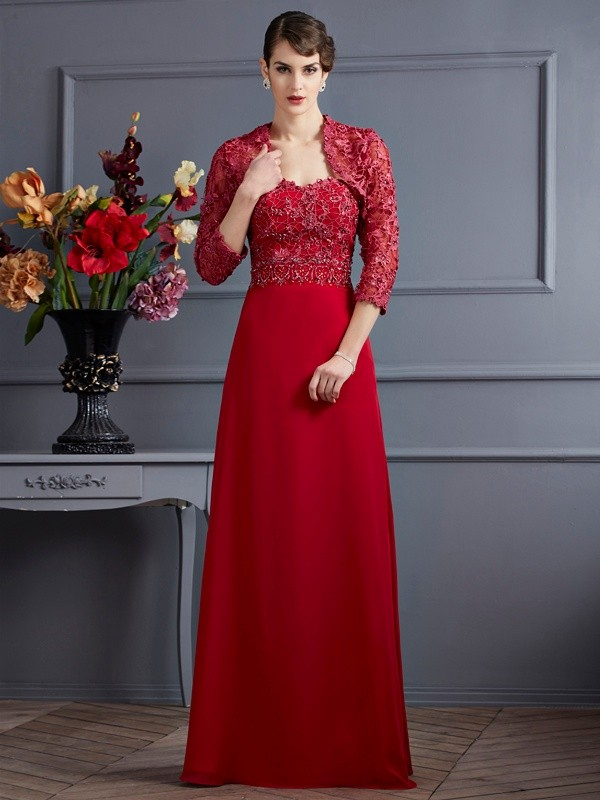 A-Line/Princess Sweetheart Floor-Length Applique Chiffon Mother of the Bride Dresses
