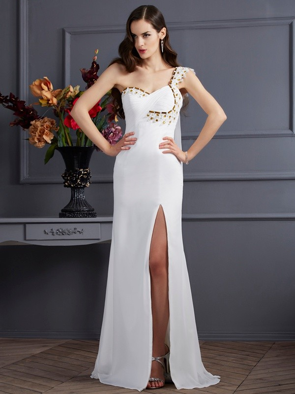 A-Line/Princess One-Shoulder Sweep/Brush Train Beading Dresses