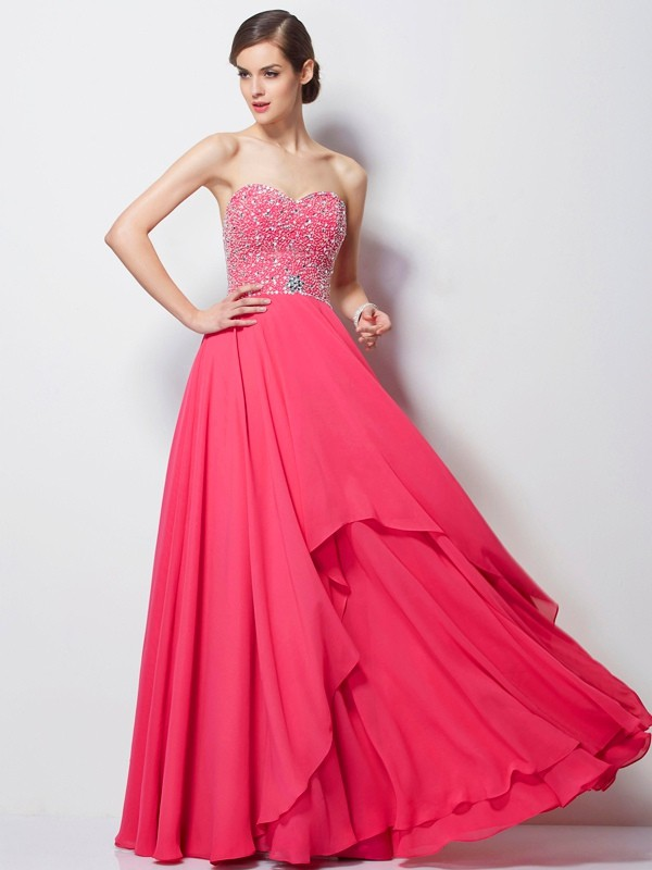 A-Line/Princess Sweetheart Beading Floor-Length Dresses
