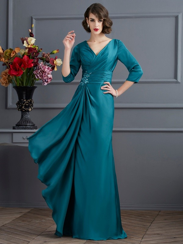 A-Line/Princess V-neck Beading 3/4 Sleeves Floor-Length Chiffon Dress