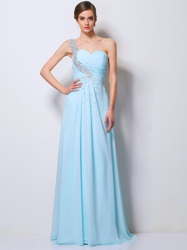 A-Line/Princess One-Shoulder Beading Sweep/Brush Train Chiffon Dress