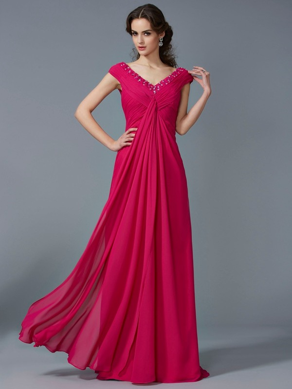 A-Line/Princess V-neck Short Sleeves Beading Floor-Length Chiffon Dress