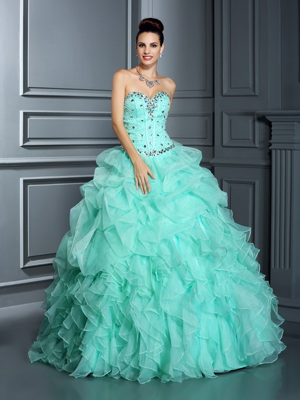 Ball Gown Sweetheart Beading Floor-Length Organza Quinceanera Dresses