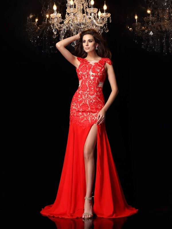 Trumpet/Mermaid High Neck Chiffon Sweep/Brush Train Lace Dresses
