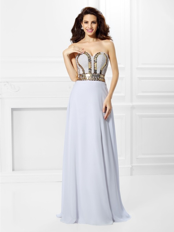Empire Sweetheart Pleats Floor-Length Chiffon Dresses