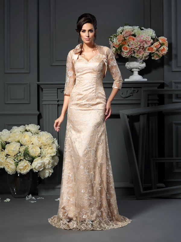 A-Line/Princess V-neck Lace Sleeveless Floor-Length Elastic Woven Satin Mother of the Bride Gowns