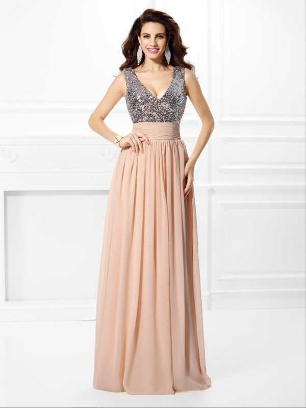 A-Line/Princess V-neck Paillette Floor-Length Chiffon Dresses