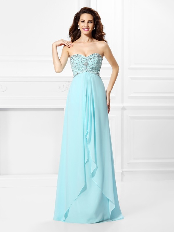 Princess Sweetheart Sleeveless Beading Long Chiffon Dress
