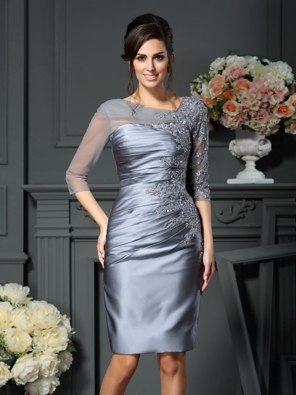 Sheath/Column Scoop Beading 1/2 Sleeves Knee-Length Satin Mother of the Bride Gowns