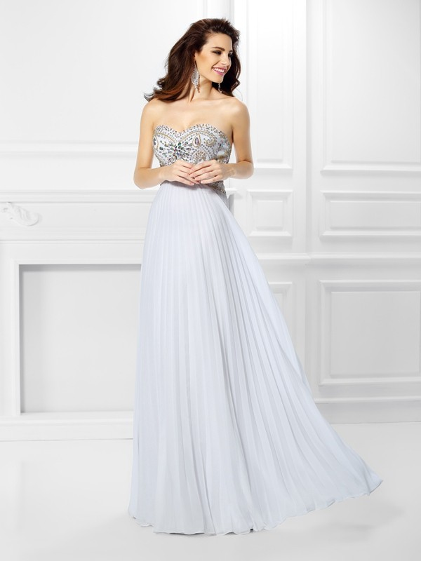 Empire Sweetheart Beading Floor-Length Chiffon Dresses