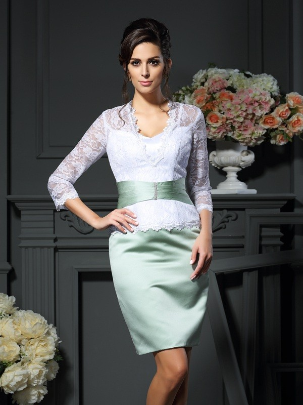 Sheath/Column V-neck 1/2 Sleeves Short/Mini Lace Satin Mother of the Bride Gowns