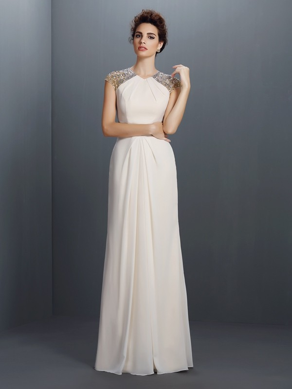 A-Line/Princess Jewel Beading Floor-Length Chiffon Dresses