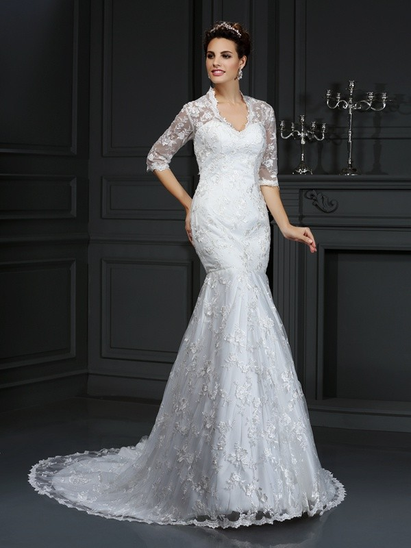 Trumpet/Mermaid V-neck 1/2 Sleeves Lace Court Train Lace Wedding Dresses