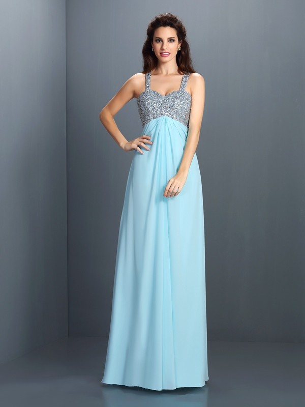 Straps Princess Beading Floor-Length Chiffon Dress