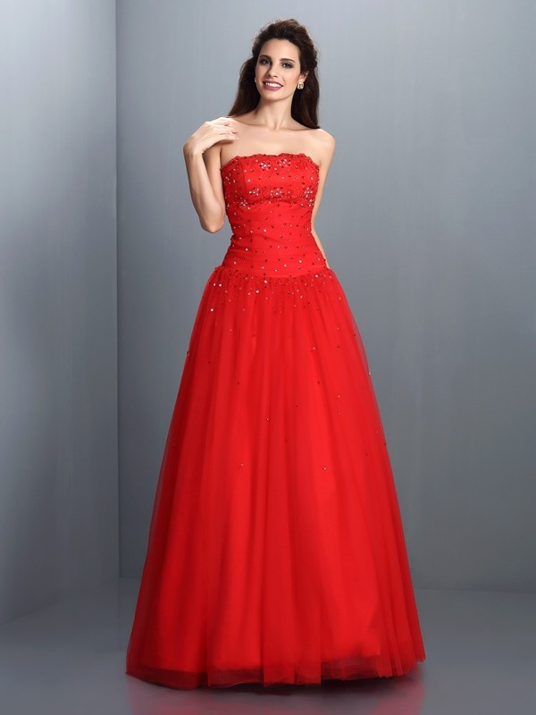 Ball Gown Strapless Beading Floor-Length Organza Dresses