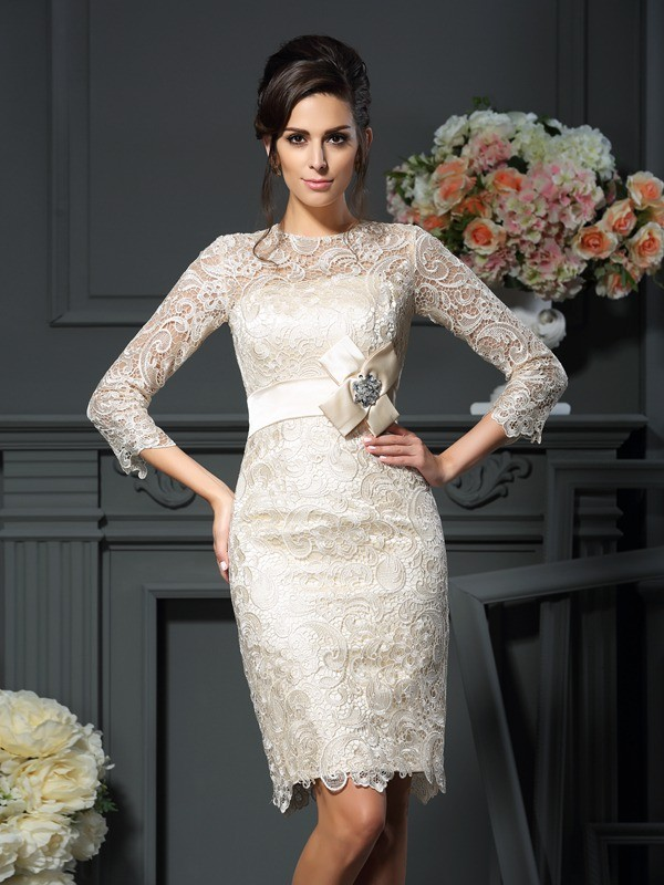 Sheath/Column Scoop Bowknot 3/4 Sleeves Short/Mini Lace Mother of the Bride Gowns