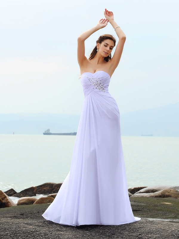 Sheath/Column Sweetheart Chiffon Chapel Train Beading Wedding Dresses
