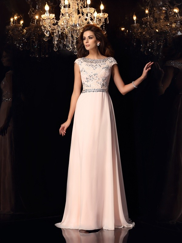 A-Line Bateau Short Sleeves Beading Floor-Length Chiffon Dresses