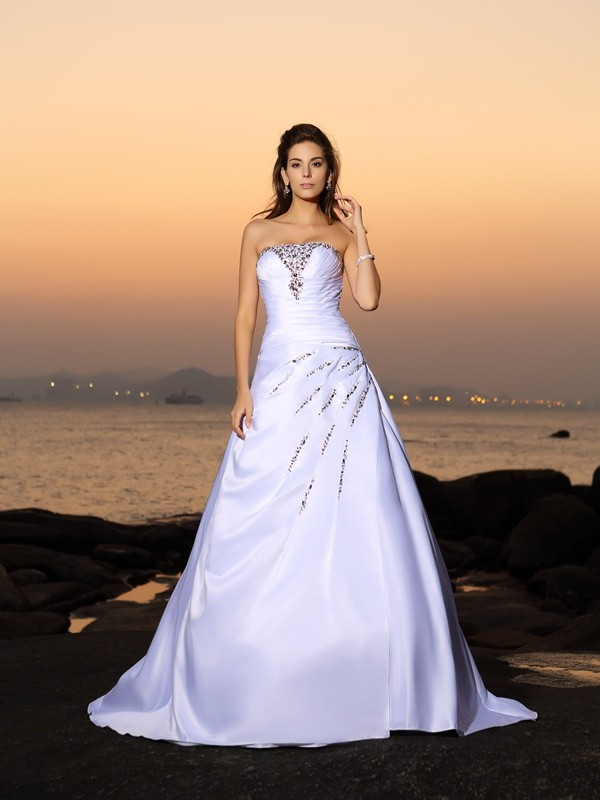 A-Line/Princess Strapless Beading Satin Chapel Train Wedding Dresses