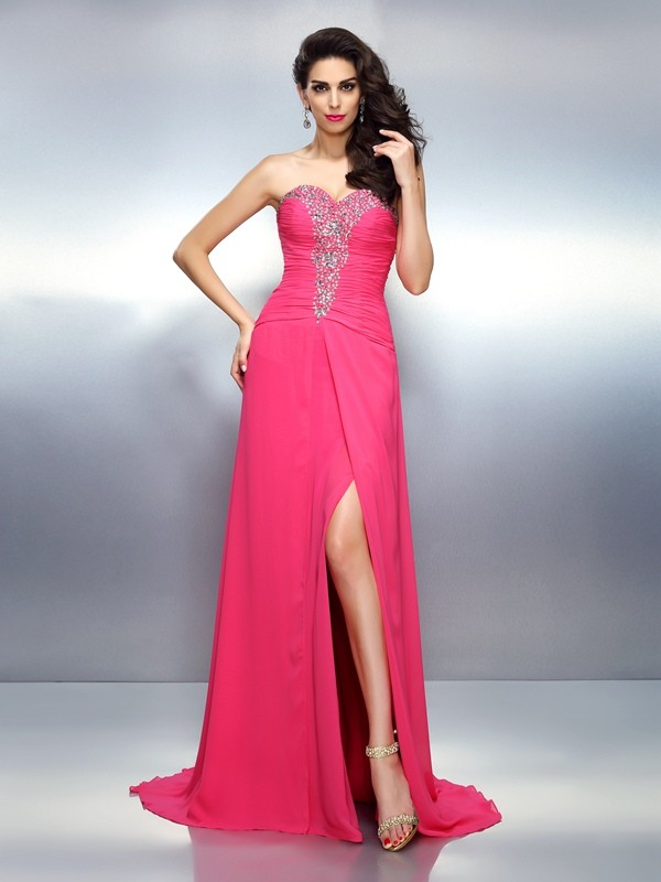 A-Line/Princess Sleeveless Brush Train Chiffon Dresses