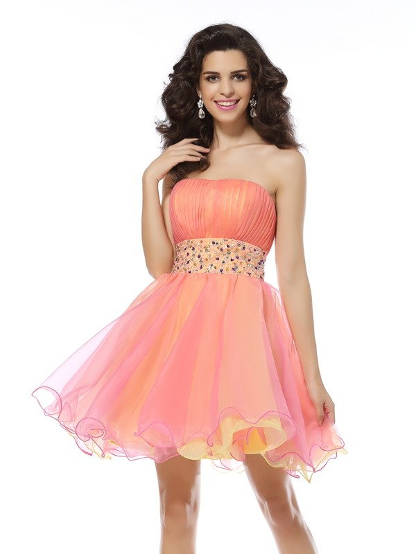 A-Line/Princess Strapless Sleeveless Organza Short/Mini Beading Dress