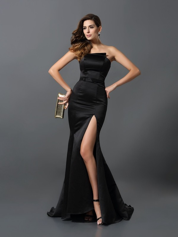 Sheath/Column Strapless Sleeveless Sash/Ribbon/Belt Satin Floor-Length Gowns