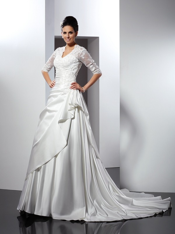 A-Line/Princess V-neck 1/2 Sleeves Applique Chapel Train Satin Wedding Dresses