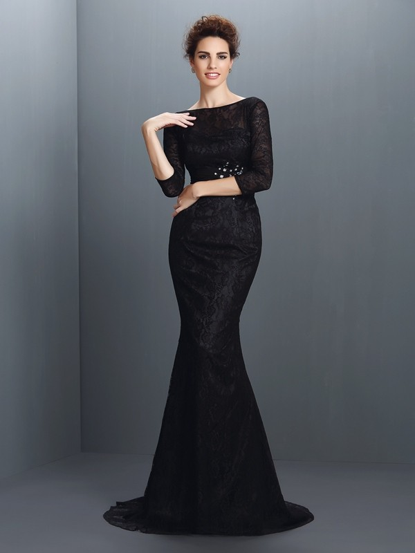 Trumpet/Mermaid Bateau 3/4 Sleeves Lace Sweep/Brush Train Elastic Woven Satin Gowns