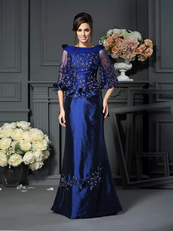 A-Line/Princess Scoop Beading 1/2 Sleeves Floor-Length Taffeta Mother of the Bride Gowns
