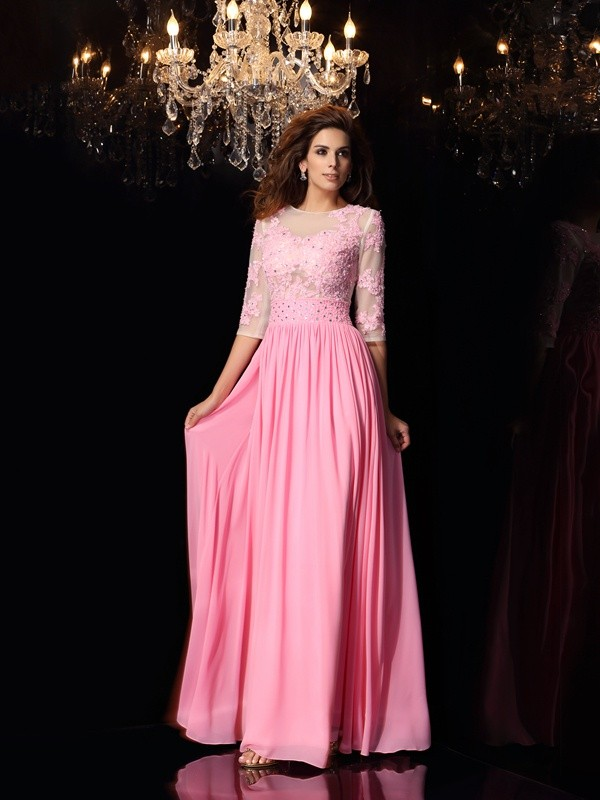 A-Line/Princess 1/2 Sleeves Silk like Satin Scoop Applique Floor-Length Dresses
