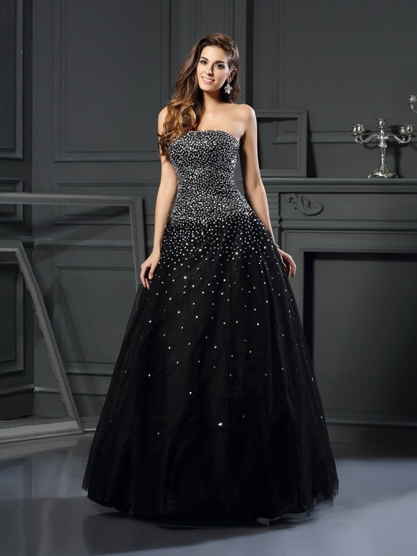 Ball Gown Strapless Satin Floor-Length Beading Dresses