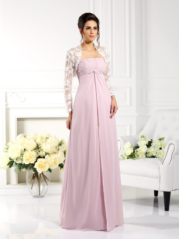 A-Line/Princess Strapless Sleeveless Lace Floor-Length Chiffon Mother of the Bride Gowns