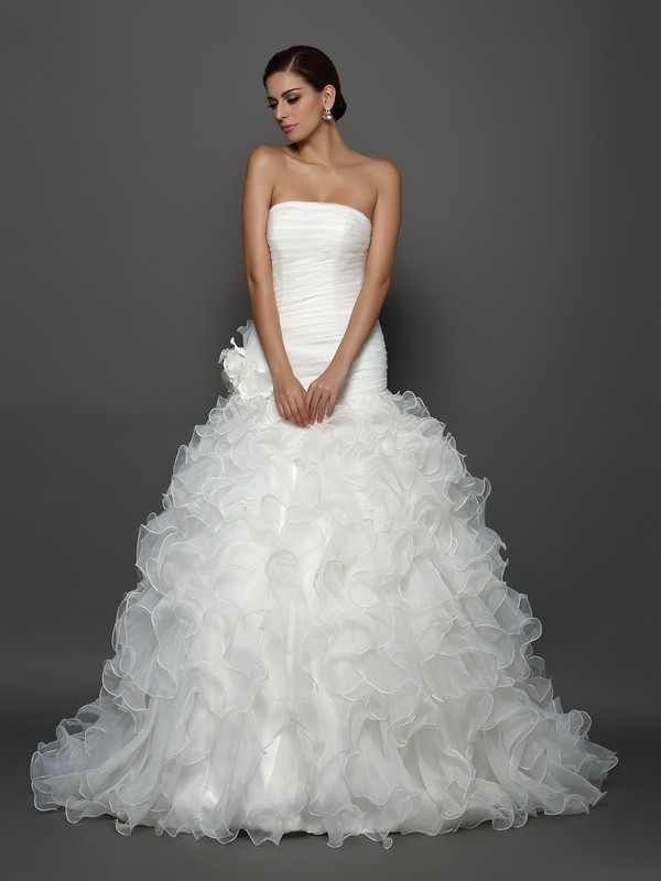 Ball Gown Strapless Organza Cathedral Train Hand-Made Flower Wedding Dresses