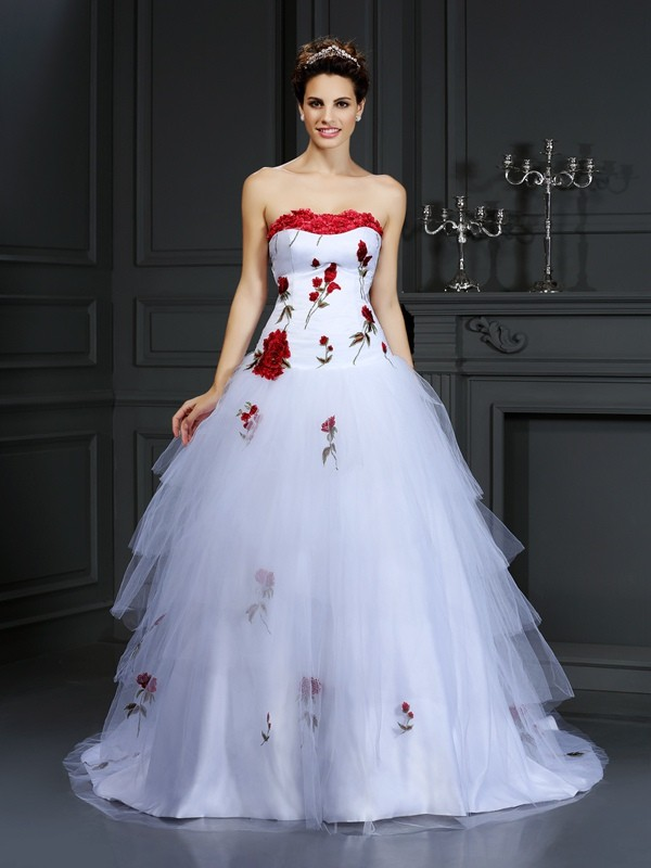 Ball Gown Strapless Hand-Made Flower Court Train Tulle Wedding Dresses