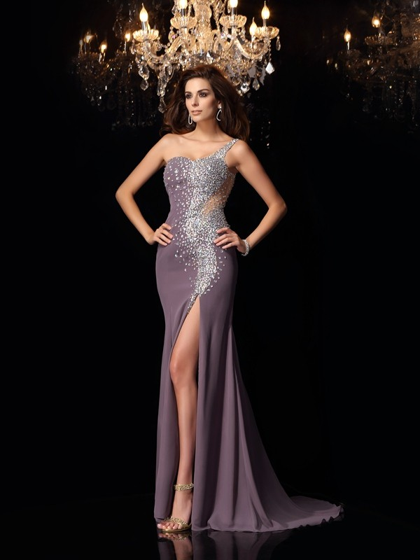 Trumpet/Mermaid Chiffon One-Shoulder Rhinestone Sweep/Brush Train Dresses