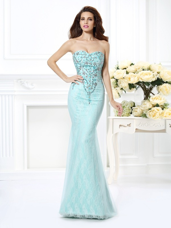 Trumpet/Mermaid Sweetheart Beading Lace Floor-Length Net Dresses
