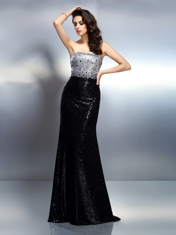 Trumpet/Mermaid Strapless Sleeveless Sequin Sweep/Brush Train Sequins Gowns